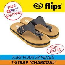 ★RESTOCK★[Flips™]★CHARCOAL T-Strap Flips Pods Sandals/Unisex Sandal/Contoured Footbed/Comfort Sandal