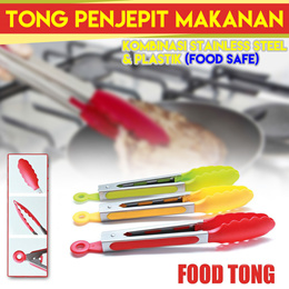 SILICONE KITCHEN TONG kombinasi stainless steel  plastik (food safe)
