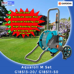 【Gardena】Aquaroll M Set 18513-20 / 18511-50CE (No dripping water after use/ Maximum water flow)
