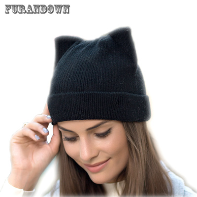COUPON · discount 2018 New Winter Cat Ears Hat Women Knitted Wool Beanie  Hats For Girls Cute Beanies 4ef2da4b6069