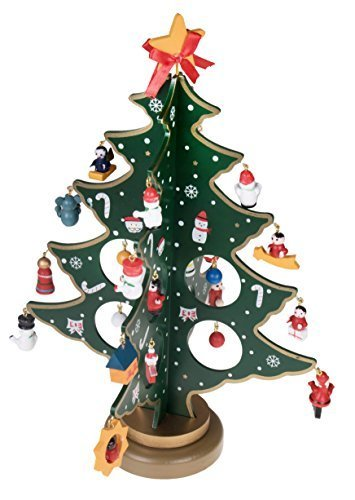 Wooden Tabletop Christmas Tree With Miniature Ornaments 9 Tall