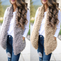 Women Fashion Winter Warm Sleeveless Fleece Vest Cardigan