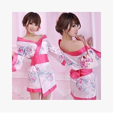 Japanese kimono print suit uniform temptation sexy lingerie women cardigan large size pajamas_hot bo