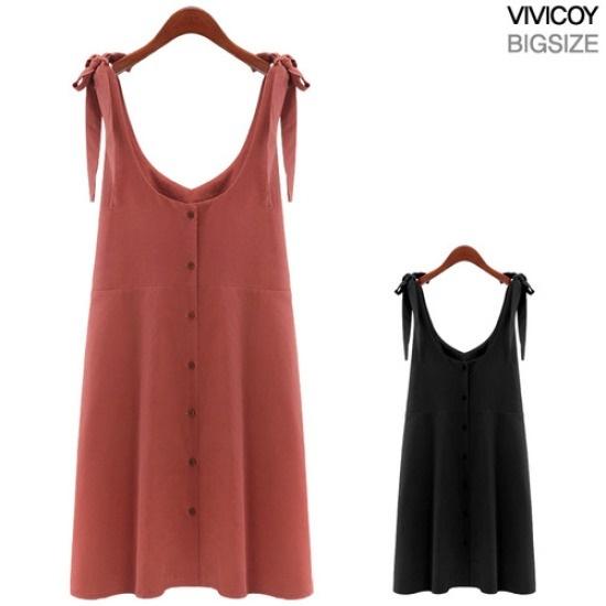 ビビ己斐リボンフルワンピースMS 綿ワンピース/ 韓国ファッション