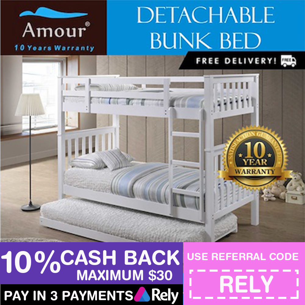 Qoo10 Detachable Bunk Bed With Pull Out Bed Double Decker Bed Single And Que Furniture Deco