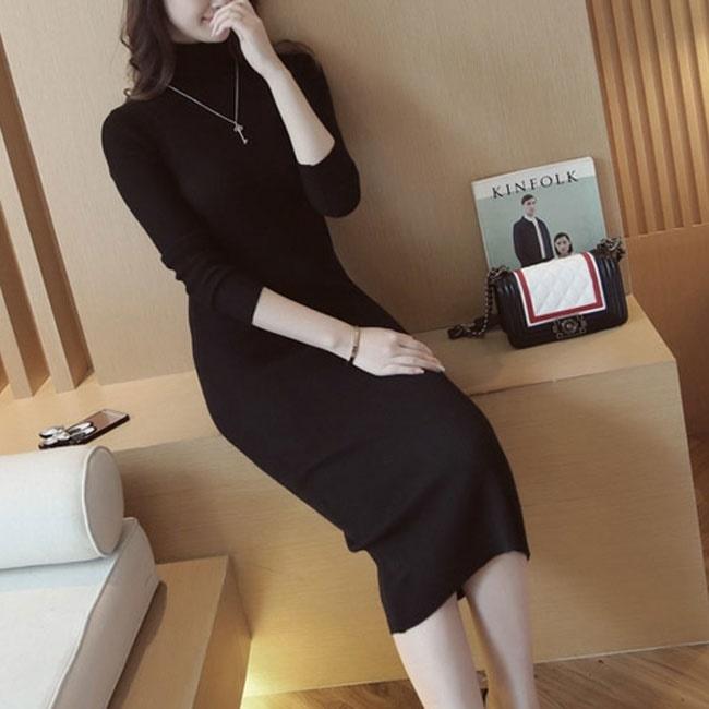 【韓国ファッション】ワンピース♥/リブニットワンピース/ロングワンピース/おしゃれなシルエット/デイリースタイル/デート/オフィス/高級感/232887