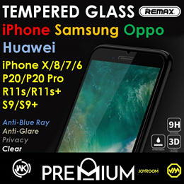 S9 Plus iPhone 8 X Note 8 S8 7 6 5 S OPPO Huawei Tempered Glass Screen Protector Samsung Note WK
