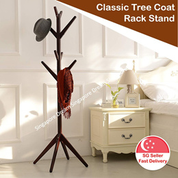 Clothes Hanger - Wooden Tree Coat Rack - Free Standing Stand 8 Hooks fr Coats Hat Scarves n Handbags