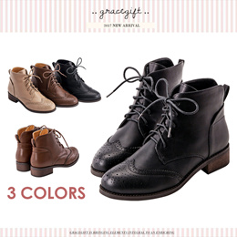 Gracegift-Classic V-Opening Broques Ankle Boots/Women/Ladies/Girls Shoes/Tai