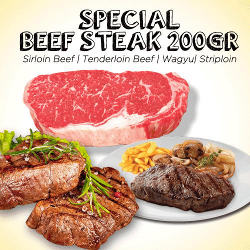 Special Beef Steak 200 gram Sirloin Beef | Tenderloin Beef | Striploin Meltique Deals for only Rp29.000 instead of Rp45.313