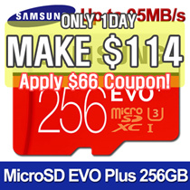 [MAKE $114!] ★SAMSUNG Micro SDXC  EVO PLUS 256GB Memory Card★ U3 Class10 ★95MB/s UHS-1