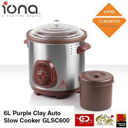 Iona 6L Purple Clay Auto Slow Cooker - GLSC600 (1 Year Warranty)