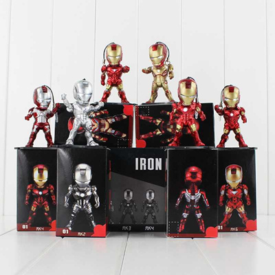 IRON MAN The Avengers 3 Egg Attack Q Version MK42 MK2 6pcs//lot 9cm ACTION FIGURE