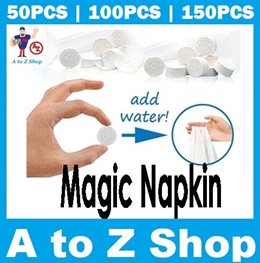 [SG Seller] Compressed Magic Coin Tissue Disposal Fabric Napkin Towels Wipes Travel Compact