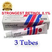 3 Tubes x Vitacid Retinol 0.1% Cream Vitamin A for Acne Wrinkles Scars and Anti Ageing.