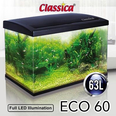 4faae1629eb7c8 ECO 60 Aquarium Glass Tank - 60 x 30 x 35cm Fish Tank with LED and