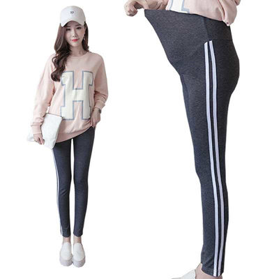 631ab735264 discount Maternity Clothes Plus Size Side Stripe Leggings knitted Solid  Pants Pregnant high Waist Le