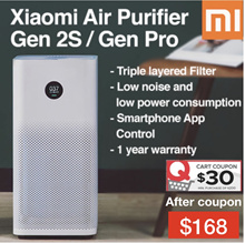 $30 Coupon $168 Xiaomi Air purifier 2S/ 2S PRO OLED Display/ App Control Smart Home