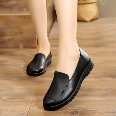 Kfc Work Shoes Flats Soft Bottom Non Slip Women S Shoes Peas In The Restaurant Black Shoes Flat Heel