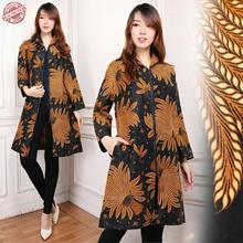 Midi Dress Batik Blazer Outware Padi Kuning Jumbo
