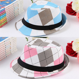 d993fd700a4 COUPON · SG Fashion Boy Girl Fedora Hat Contrast Plaid Decorative Ribbon Jazz  Hat Baby Kids Cap Unisex