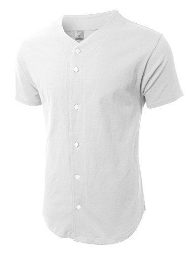 (Hat and Beyond) Mens Baseball Jersey Button Down T-shirts Plain Short  Sleeve 1bda9d6f8ca9