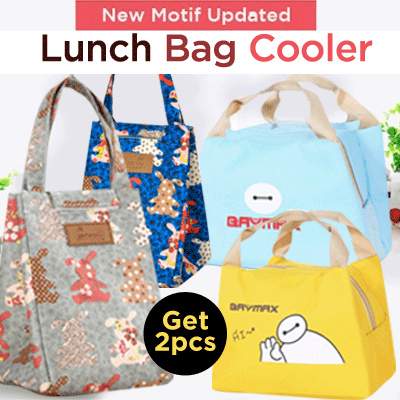 [Buy 1 Get 1] 1+1 LUNCH BAG COOLER dengan pelapis penahan suhu makanan Deals for only Rp61.400 instead of Rp94.462