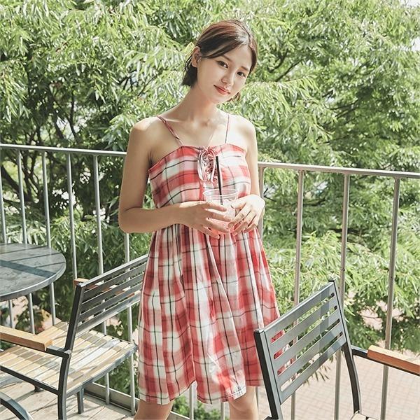 ロコ・シックスstrap check sleveless dressワンピースnew プリントワンピース/ワンピース/韓国ファッション