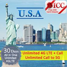 ◆ ICC◆【U.S.A America Sim Card·7-30 Days】Unlimited 4GLTE data+call SG/Local (unlimited)