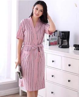 Ladies Nightgown Women Cotton Bathrobe Short-sleeve Pajamas Sleepwear Bath  Robe Homewear 46cd0ee11