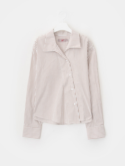 8SECONDS Stripe Diagonal Open Collar Shirt - Ivory