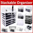 Acrylic Stackable Cosmetic Organizer Makeup Box Make Up Transparent Clear Diamond