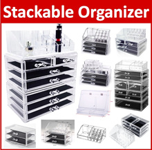 Acrylic Stackable Cosmetic Organizer Makeup Box Make Up Transparent Clear Diamond