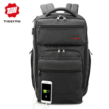 Tigernu brand men fashion mochila escolar 15.6inch laptop backpack USB charge travel bag backpacks