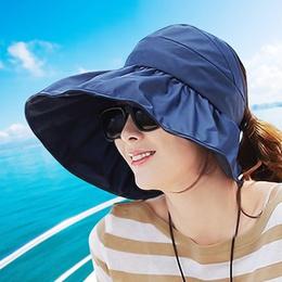 Seaside face big visor female sunscreen summer beach hat foldable anti-UV cool hat