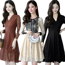 Korean style Slim lace Chiffon dress/Plus size Dresses/Beach skirt/Bohemia/floral dress/work dress