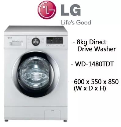 qoo10 lg 8kg inverter direct drive washer wd 1480tdt 10 year direct dri major appliances. Black Bedroom Furniture Sets. Home Design Ideas