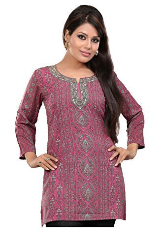 51c1604e1e6 ◇Direct from USA◇ Indian Tunic Top Womens Kurti Printed Blouse India  Clothing