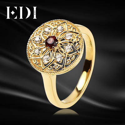 EDI Women 925 Sterling Silver Yellow Ring 3mm Thick Round Sun Flower Red  Garnet Engagement/Wedding R
