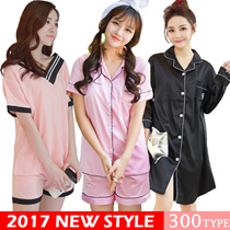 2017 Women pajamas/Korean style cartoon pajamas/ short Sleeve Pyjamas/ sexy sleepwear/Women Lingerie