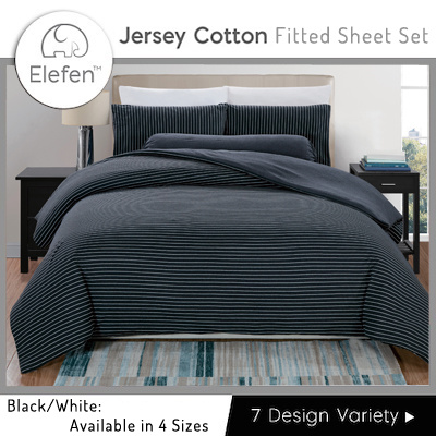 Elefen Jersey Cotton Series   Thin Stripes Fitted Sheets (Black/White)