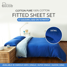 [Cotton Pure™] 100% Cotton Knitted Wrinkle Resistance Fitted Sheet / Bedsheet Set for all mattress