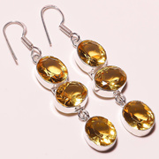 """AMAZING FACETED CITRINE QUARTZ 925 STERLING SILVER PLATED EARRING 2.5 """"(E-1041)[BKD0003680]"""