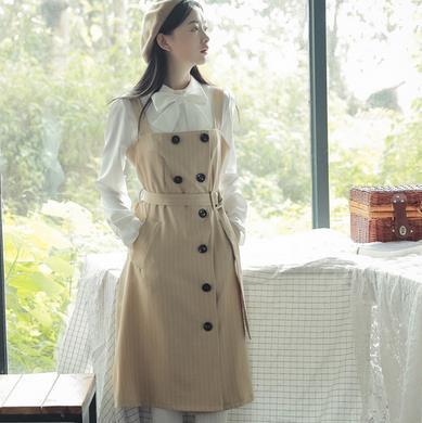 [55555SHOP]2017年新作!韓国ファッション★ボタンで構成されているコットンワンピースワンピース ミディワンピース サマーワンピース ビーチワンピース