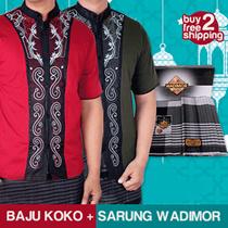 Ramadhan Package - Baju Koko Muslimin Pria Lengan Pendek + Free Sarung Wadimor