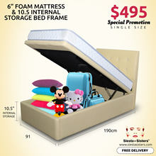 10.5 inches Internal Storage with Firm Foam Mattress