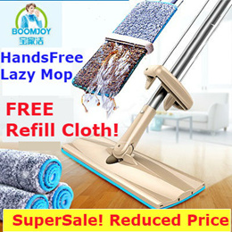 [BoomsJoy Refill] HandsFree Lazy Mop/No Hand Wash/Microfiber Cloth/Flat Head/Fast Mopping/Broom