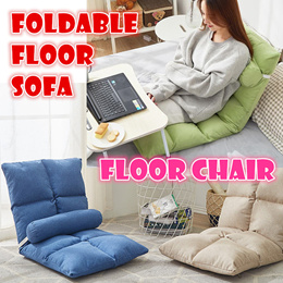 Foldable Floor chair lazy sofa chairs seat back cushion cool Cotton linen bed free pillow