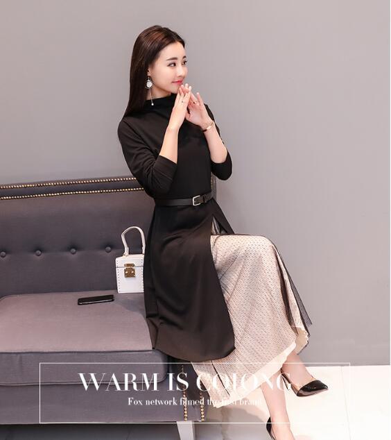 [55555SHOP]秋冬冬ワンピース2017韓国ファッション中長はやせていてやせてやせている