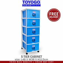 Toyogo Plastic Storage Cabinet / Drawer With Wheels (5 Tier) (803-5)